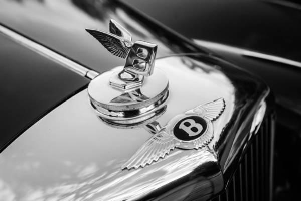Photograph - 1953 Bentley R-type Hood Ornament - Emblem -0271bw by Jill Reger