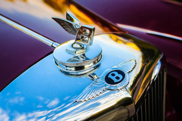 Wall Art - Photograph - 1953 Bentley R-type Hood Ornament - Emblem -0271c by Jill Reger