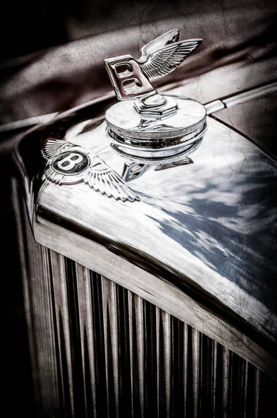 Wall Art - Photograph - 1953 Bentley R-type Hood Ornament - Emblem -0790ac by Jill Reger