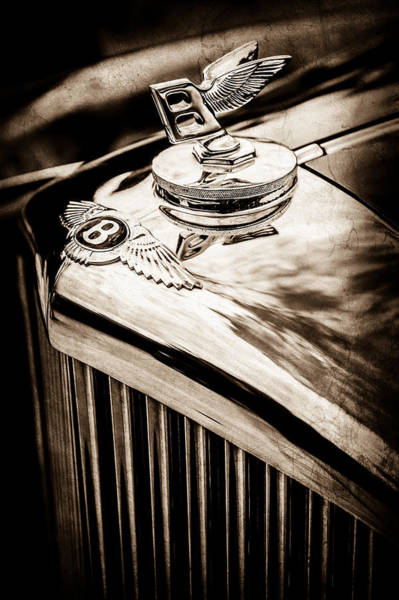 Wall Art - Photograph - 1953 Bentley R-type Hood Ornament - Emblem -0790s by Jill Reger
