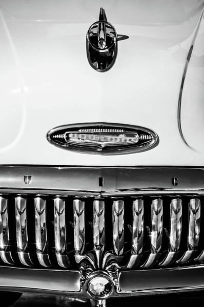 Wall Art - Photograph - 1953 Buick Special Hood Ornament -0133bw by Jill Reger