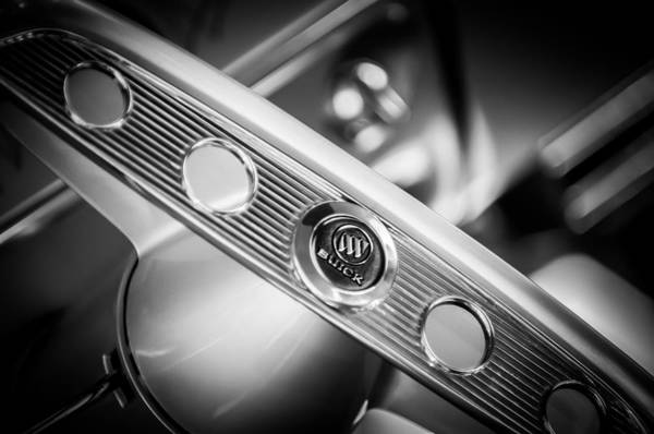 Photograph - 1953 Buick Super Hot Rod Steering Wheel Emblem -0810bw by Jill Reger