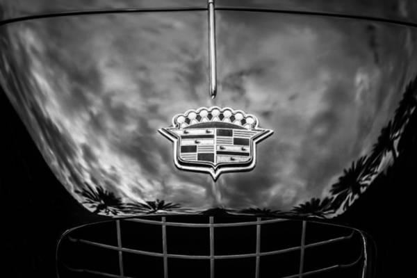 Photograph - 1953 Cadillac Series 62 Hood Emblem -0835bw by Jill Reger