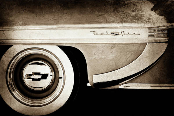 Wall Art - Photograph - 1953 Chevrolet Bel Air Wheel Emblem -609s by Jill Reger
