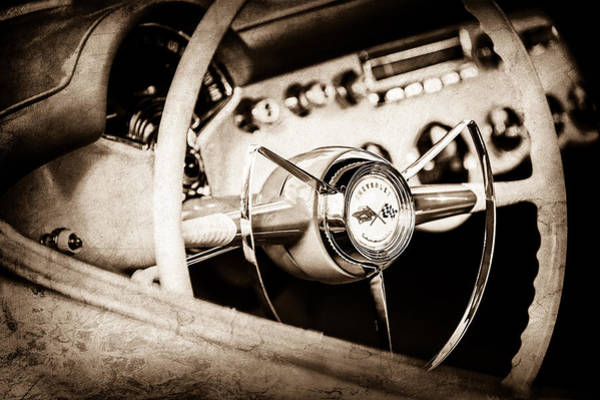Wall Art - Photograph - 1953 Chevrolet Corvette Steering Wheel Emblem -1400s by Jill Reger