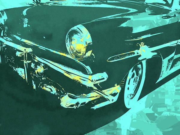 Digital Art - 1953 Ford Crestline Turquoise Pop by David King