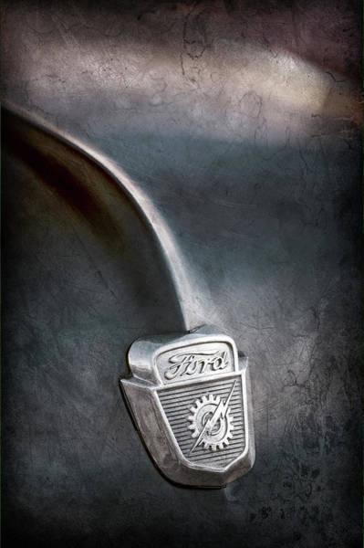 Photograph - 1953 Ford F100 Pickup Truck Hood Emblem -0403ac by Jill Reger
