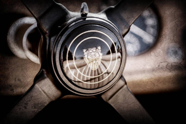 Wall Art - Photograph - 1953 Jaguar Xk 120 Se Steering Wheel Emblem -2470ac by Jill Reger