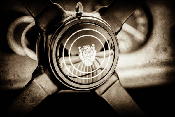 Wall Art - Photograph - 1953 Jaguar Xk 120 Se Steering Wheel Emblem -2470s by Jill Reger