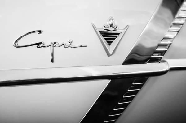 Photograph - 1953 Lincoln Capri Emblem -0289bw by Jill Reger