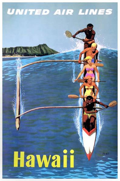 Wall Art - Digital Art - 1953 United Airlines Hawaii Travel Poster by Retro Graphics