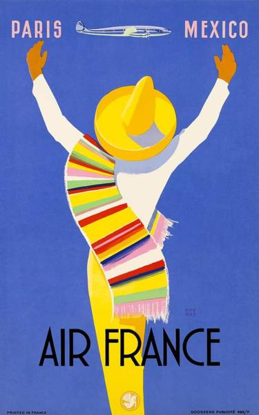 Wall Art - Digital Art - 1954 Air France Paris To Mexico Travel Poster by Retro Graphics