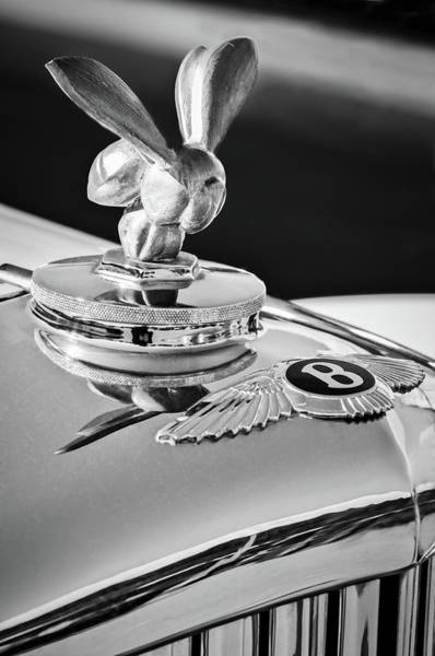 Wall Art - Photograph - 1954 Bentley R-type Hood Ornament -0493bw by Jill Reger