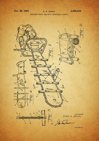 Car Drawings Mixed Media - 1954 Chainsaw Patent by Dan Sproul
