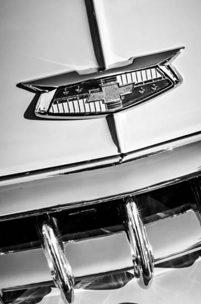 Photograph - 1954 Chevrolet Belair Emblem -0431bw by Jill Reger