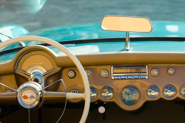 Convertible Photograph - 1954 Chevrolet Corvette Convertible Dash Board by Jill Reger