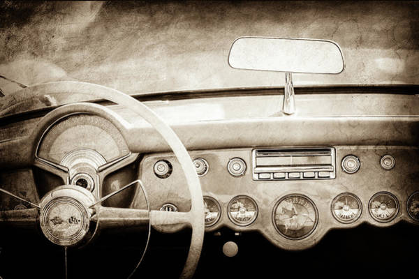 Photograph - 1954 Chevrolet Corvette Steering Wheel -369s by Jill Reger