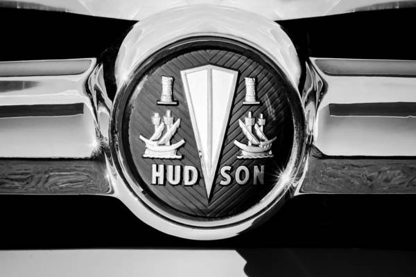 Photograph - 1954 Hudson Grille Emblem -190bw by Jill Reger