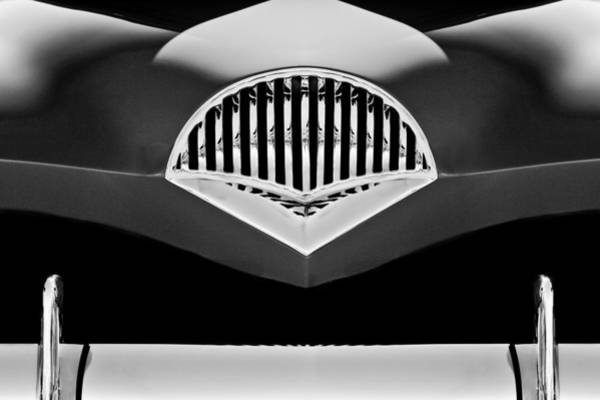 Photograph - 1954 Kaiser Darrin Grille Black And White by Jill Reger