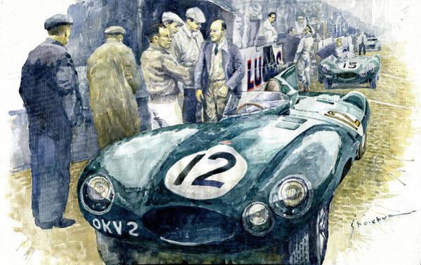 Wall Art - Painting - 1954 Le Mans 24 Jaguar D Type Short Nose Stirling Moss Peter Walker  by Yuriy Shevchuk