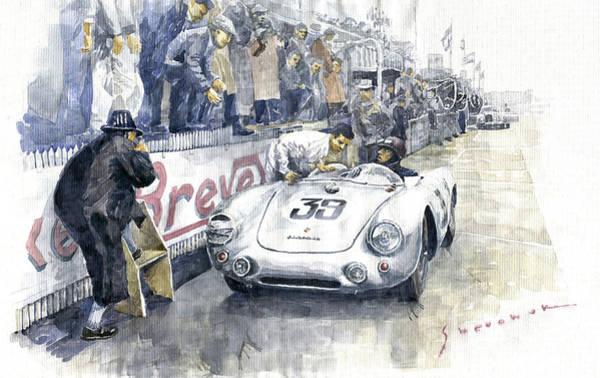 Wall Art - Painting - 1954 Le Mans 24 Porsche 550 Hans Herrmann. by Yuriy Shevchuk