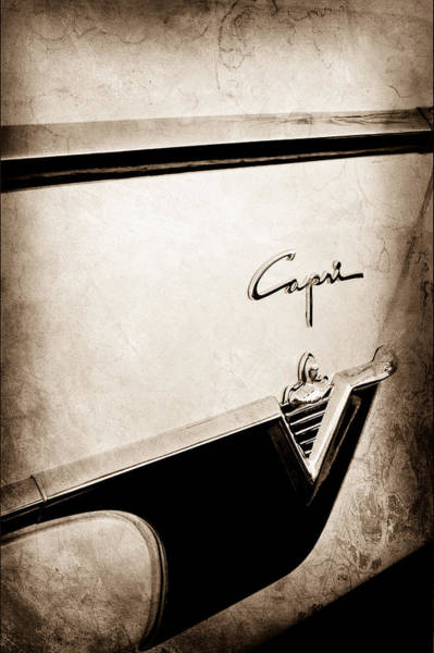 Wall Art - Photograph - 1954 Lincoln Capri Convertible Emblem-0027s by Jill Reger