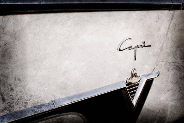 Wall Art - Photograph - 1954 Lincoln Capri Convertible Emblem-0030ac by Jill Reger