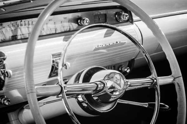 Photograph - 1954 Lincoln Capri Steering Wheel -0150bw by Jill Reger