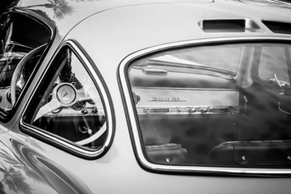 Wall Art - Photograph - 1954 Mercedes-benz 300sl Gullwing Steering Wheel -0142bw by Jill Reger