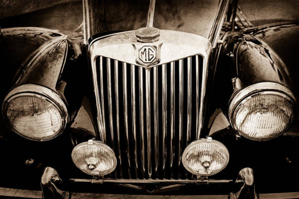 Photograph - 1954 Mg Tf Grille Emblem -0165s by Jill Reger