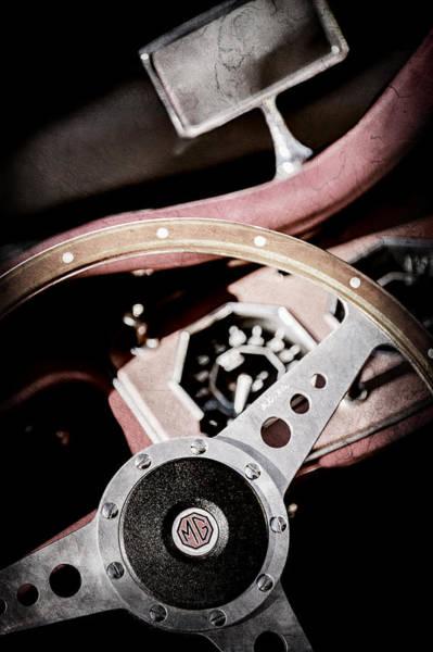 Photograph - 1954 Mg Tf Steering Wheel Emblem -0920ac by Jill Reger