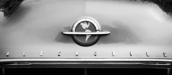 Photograph - 1954 Oldsmobile Super 88 Grille Emblem -110bw by Jill Reger