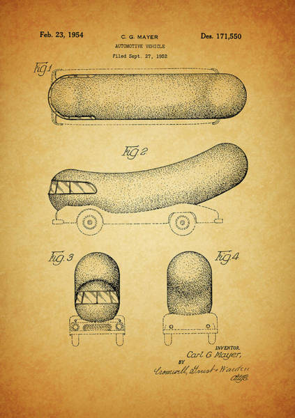 Wall Art - Mixed Media - 1954 Weiner Mobile Patent by Dan Sproul