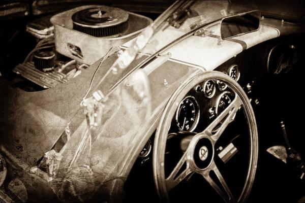 Ac Cobra Wall Art - Photograph - 1955 Ac Cobra Steering Wheel - Engine -1043s by Jill Reger