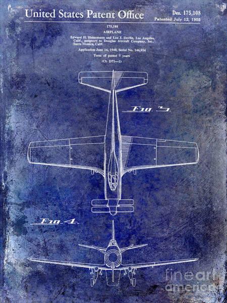 Vintage Airplane Photograph - 1955  Airplane Patent Drawing 2 Blue by Jon Neidert