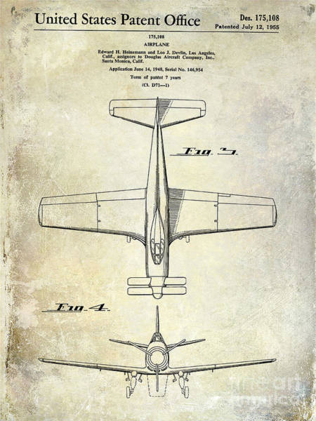Vintage Airplane Photograph - 1955  Airplane Patent Drawing 2 by Jon Neidert