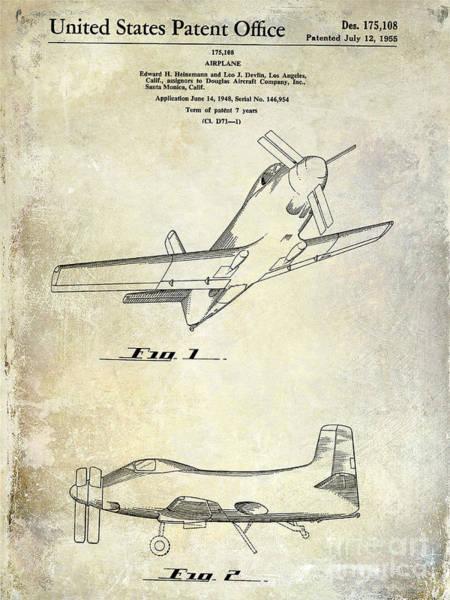 Vintage Airplane Photograph - 1955  Airplane Patent Drawing by Jon Neidert