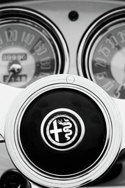 Wall Art - Photograph - 1955 Alfa Romeo Steering Wheel Emblem -2254bw2 by Jill Reger