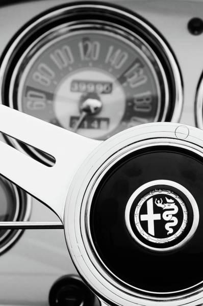 Wall Art - Photograph - 1955 Alfa Romeo Steering Wheel Emblem -2254bw4 by Jill Reger
