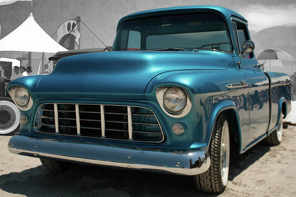 Photograph - 1955 Blue Chevy 3100 Pickup by Daniel Adams