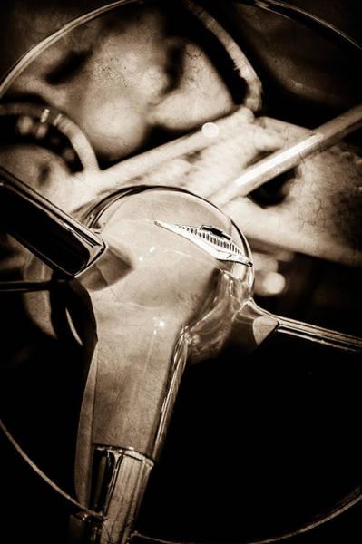 Wall Art - Photograph - 1955 Chevrolet Bel Air Convertible Steering Wheel Emblem -0974s by Jill Reger