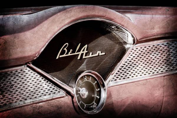 Wall Art - Photograph - 1955 Chevrolet Bel Air Dashboard Emblem Clock -0985ac by Jill Reger