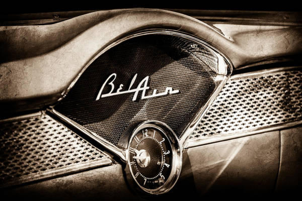 Photograph - 1955 Chevrolet Bel Air Dashboard Emblem Clock -0985s by Jill Reger