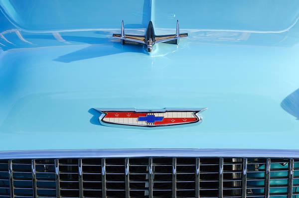 Wall Art - Photograph - 1955 Chevrolet Bel Air Hood Ornament - Emblem -0066c by Jill Reger