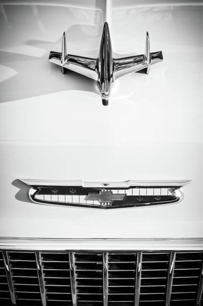 Wall Art - Photograph - 1955 Chevrolet Bel Air Hood Ornament - Emblem -0067bw by Jill Reger