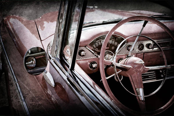 Wall Art - Photograph - 1955 Chevrolet Belair Steering Wheel -0263ac by Jill Reger