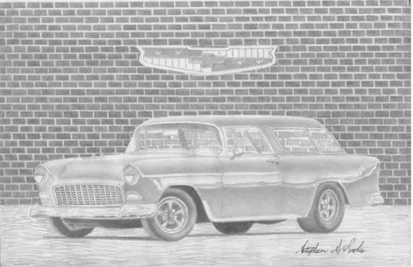 Nomad Drawing - 1955 Chevrolet Nomad Classic Car Art Print by Stephen Rooks