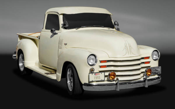 Street Rods Photograph - 1955 Chevrolet Series 3100 Pickup Truck  -  19553100chevytruckgry172098 by Frank J Benz
