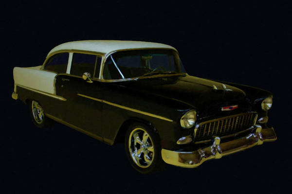 Painting - 1955 Chevy Bel Air Black Digital Oil by Chris Flees