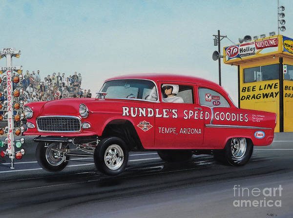 Chevrolet Drawing - 1955 Chevy Gasser by Paul Kuras